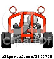 Gray Design Mascot Man Riding Sports Buggy Front View