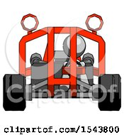 Gray Design Mascot Woman Riding Sports Buggy Front View