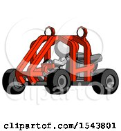 Gray Design Mascot Man Riding Sports Buggy Side Angle View