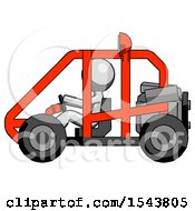 Gray Design Mascot Man Riding Sports Buggy Side View