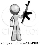 Gray Design Mascot Man Holding Automatic Gun