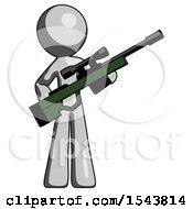 Gray Design Mascot Man Holding Sniper Rifle Gun
