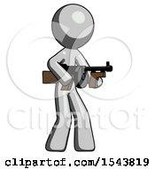 Gray Design Mascot Man Tommy Gun Gangster Shooting Pose