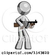 Gray Design Mascot Woman Tommy Gun Gangster Shooting Pose
