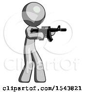 Gray Design Mascot Man Shooting Automatic Assault Weapon