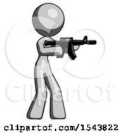 Gray Design Mascot Woman Shooting Automatic Assault Weapon