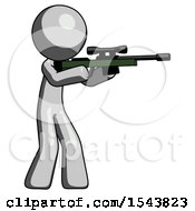 Gray Design Mascot Man Shooting Sniper Rifle