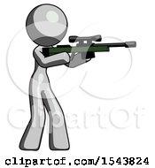 Gray Design Mascot Woman Shooting Sniper Rifle
