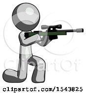 Gray Design Mascot Man Kneeling Shooting Sniper Rifle