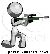 Gray Design Mascot Woman Kneeling Shooting Sniper Rifle