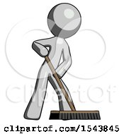Gray Design Mascot Man Cleaning Services Janitor Sweeping Floor With Push Broom