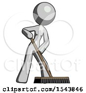 Gray Design Mascot Woman Cleaning Services Janitor Sweeping Floor With Push Broom