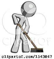 Gray Design Mascot Man Cleaning Services Janitor Sweeping Side View