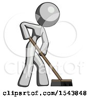 Gray Design Mascot Woman Cleaning Services Janitor Sweeping Side View