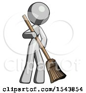 Gray Design Mascot Woman Sweeping Area With Broom