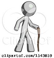 Gray Design Mascot Man Walking With Hiking Stick