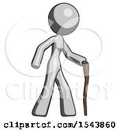 Gray Design Mascot Woman Walking With Hiking Stick