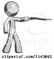Gray Design Mascot Man Pointing With Hiking Stick
