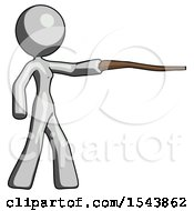 Gray Design Mascot Woman Pointing With Hiking Stick