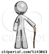 Gray Design Mascot Man Standing With Hiking Stick