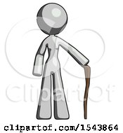 Gray Design Mascot Woman Standing With Hiking Stick