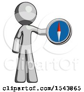 Gray Design Mascot Man Holding A Large Compass