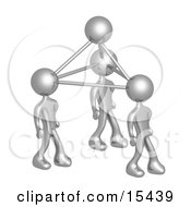 Silver Business People Connected By Atoms Symbolizing Teamwork Brainstorming Creativity And Ideas Clipart Illustration Image