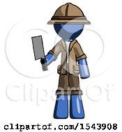 Blue Explorer Ranger Man Holding Meat Cleaver