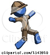 Blue Explorer Ranger Man Running Away In Hysterical Panic Direction Right