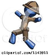 Blue Explorer Ranger Man Running Away In Hysterical Panic Direction Left