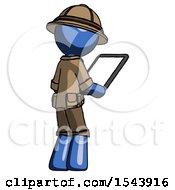 Blue Explorer Ranger Man Looking At Tablet Device Computer Facing Away
