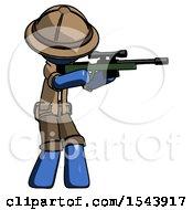 Blue Explorer Ranger Man Shooting Sniper Rifle