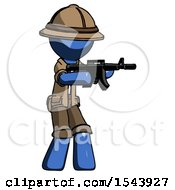 Blue Explorer Ranger Man Shooting Automatic Assault Weapon
