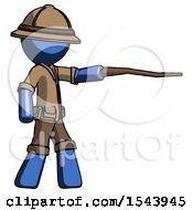 Blue Explorer Ranger Man Pointing With Hiking Stick