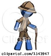 Blue Explorer Ranger Man Walking With Hiking Stick