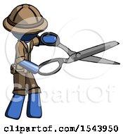 Blue Explorer Ranger Man Holding Giant Scissors Cutting Out Something
