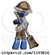 Blue Explorer Ranger Man Sweeping Area With Broom