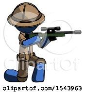 Blue Explorer Ranger Man Kneeling Shooting Sniper Rifle