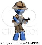 Blue Explorer Ranger Man Tommy Gun Gangster Shooting Pose