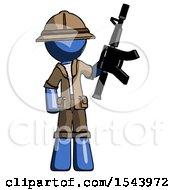 Blue Explorer Ranger Man Holding Automatic Gun