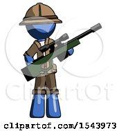 Blue Explorer Ranger Man Holding Sniper Rifle Gun