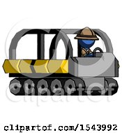 Blue Explorer Ranger Man Driving Amphibious Tracked Vehicle Side Angle View