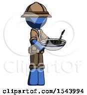Blue Explorer Ranger Man Holding Noodles Offering To Viewer