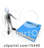 Businessman Standing Beside A Giant Blue Manual