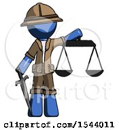 Blue Explorer Ranger Man Justice Concept With Scales And Sword Justicia Derived