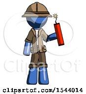 Blue Explorer Ranger Man Holding Dynamite With Fuse Lit