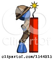 Blue Explorer Ranger Man Leaning Against Dynimate Large Stick Ready To Blow