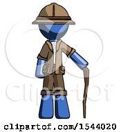 Blue Explorer Ranger Man Standing With Hiking Stick