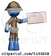 Blue Explorer Ranger Man Holding Large Envelope
