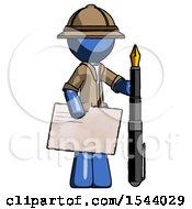 Blue Explorer Ranger Man Holding Large Envelope And Calligraphy Pen